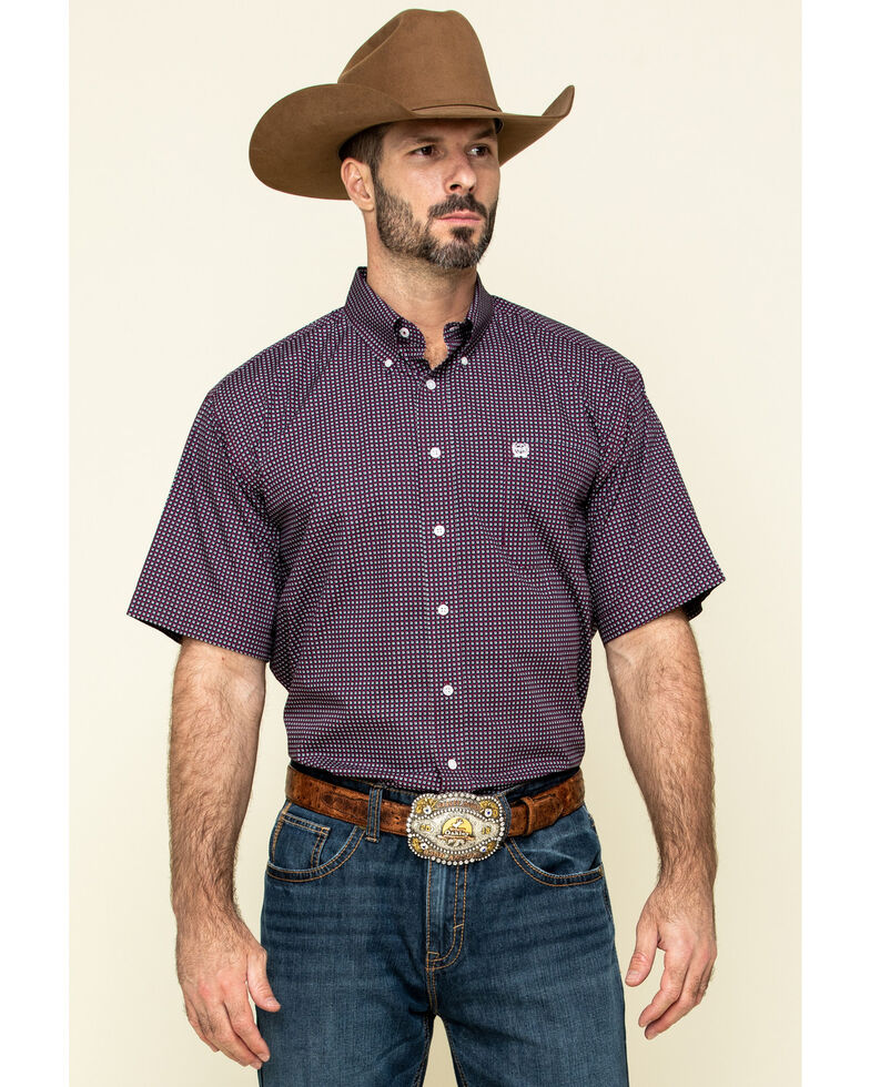 Cinch Men's Burgundy Small Geo Print Short Sleeve Western Shirt , Burgundy, hi-res