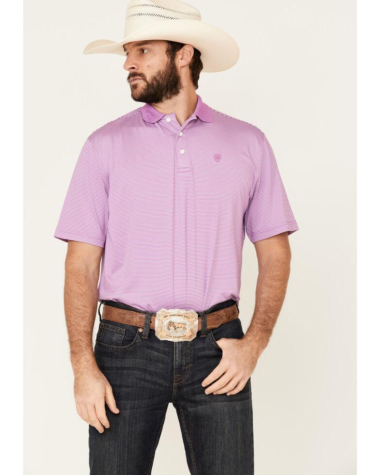 Ariat Men's Violet Micro Stripe Short Sleeve Polo Shirt , Purple, hi-res