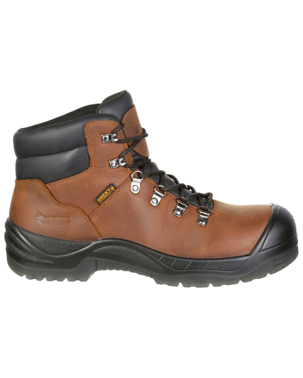 "Rocky Men's Worksmart Waterproof 5"" Work Boots - Safety Toe, Brown, hi-res"