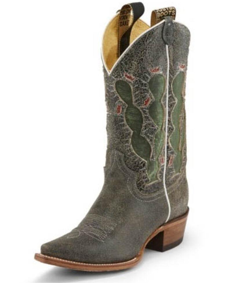 Justin Women's Pearce'd Crackle Western Boots - Snip Toe, Black, hi-res