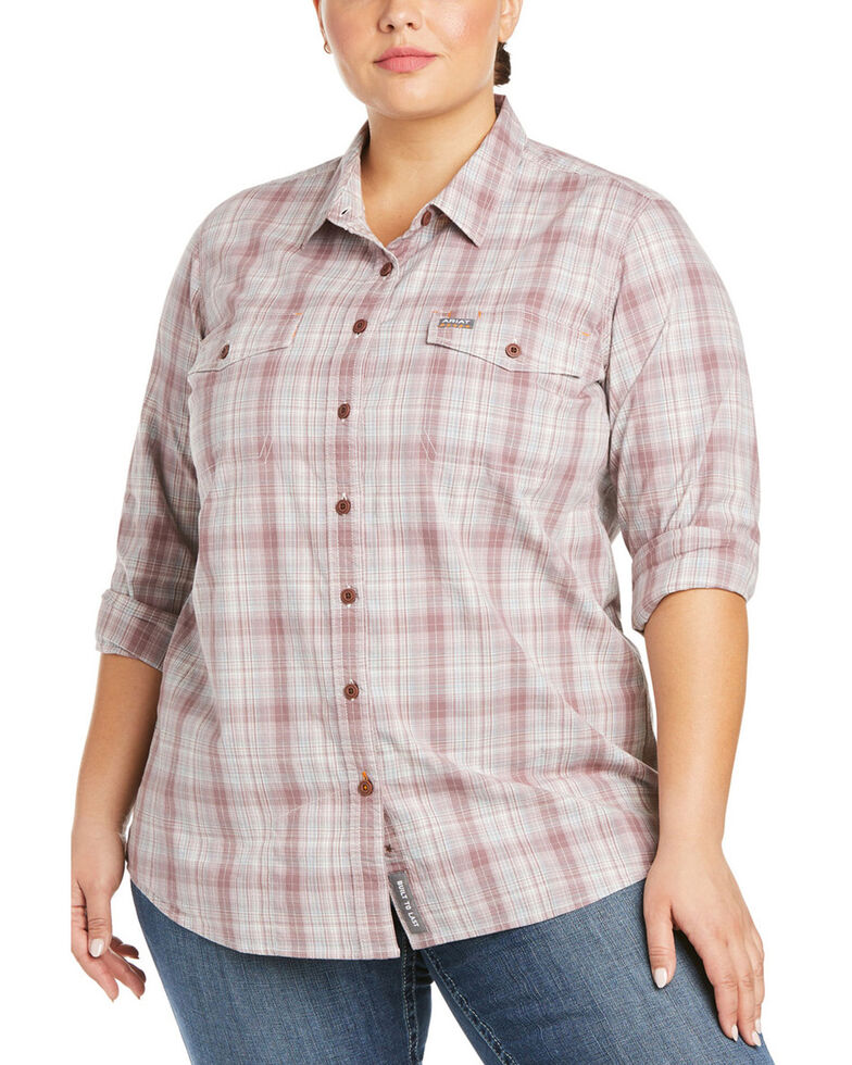 Ariat Women's Plaid Rebar Made Tough DuraStretch Button-Down Work Shirt - Plus, Purple, hi-res
