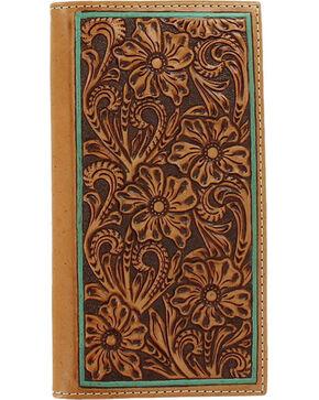 Ariat Women's Floral Embossed Border Wallet, Tan, hi-res