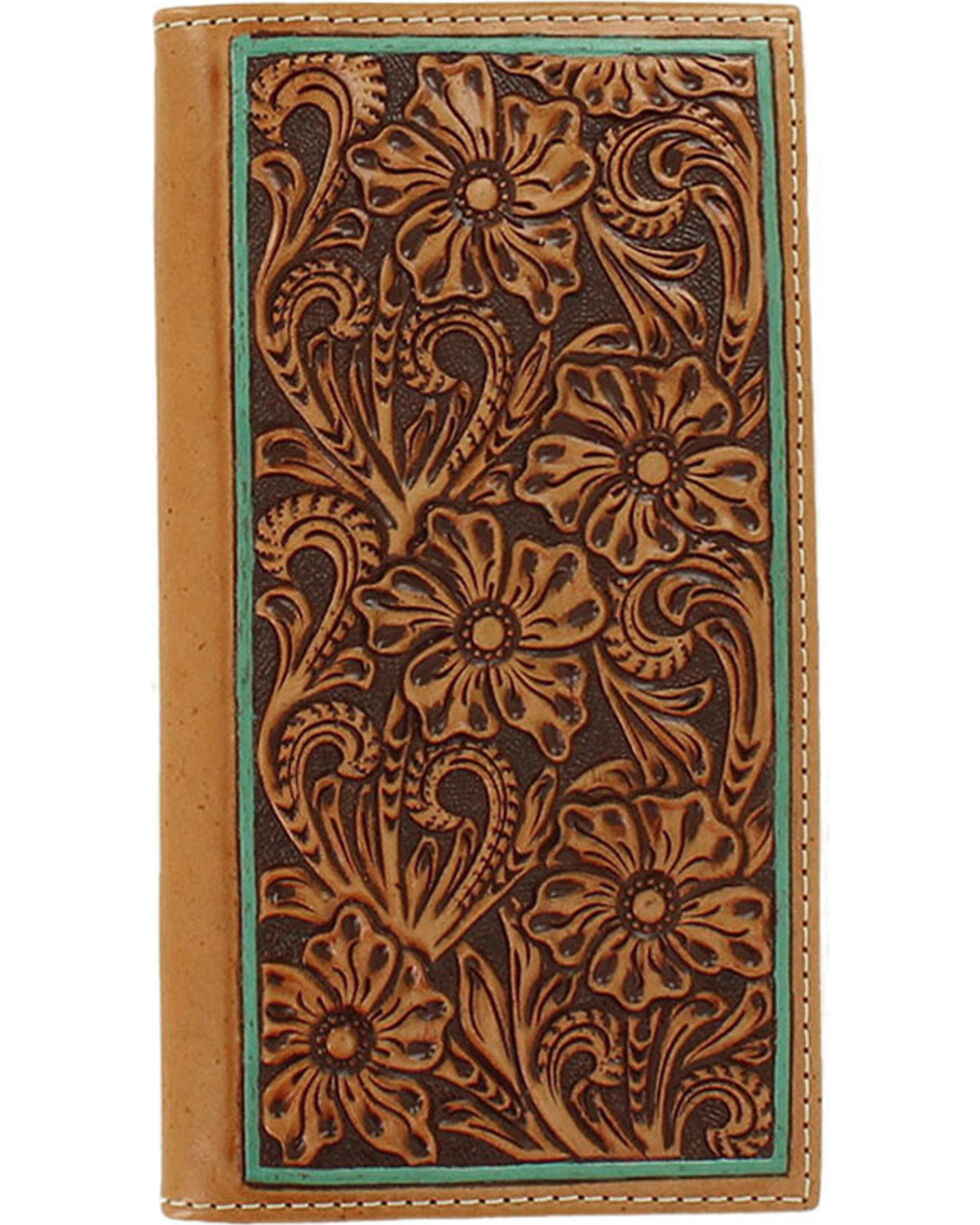 Ariat Women's Floral Embossed Border Wallet, Tan, hi-res