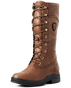 Ariat Women's Wythburn Waterproof Lace-Up Boots - Round Toe, Brown, hi-res