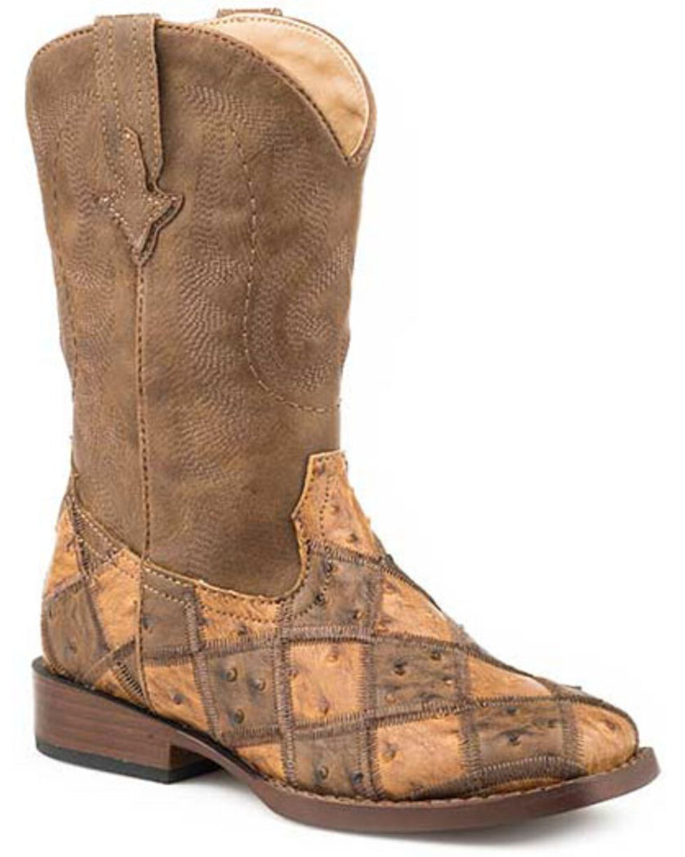 Roper Girls' Bird Blocks Western Boots - Square Toe, Tan, hi-res