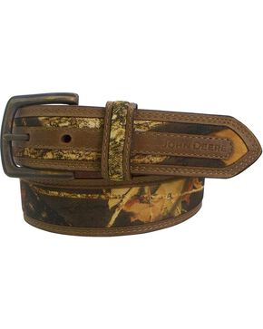 John Deere Crazyhorse Leather Real Tree Camo Belt, Camouflage, hi-res