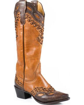 Stetson Women's Alexa Snip Toe Western Boots, Tan, hi-res