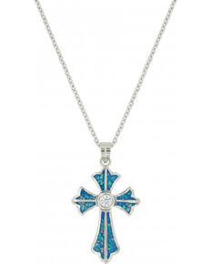 Montana Silversmiths Women's River of Lights Cross Necklace , Silver, hi-res