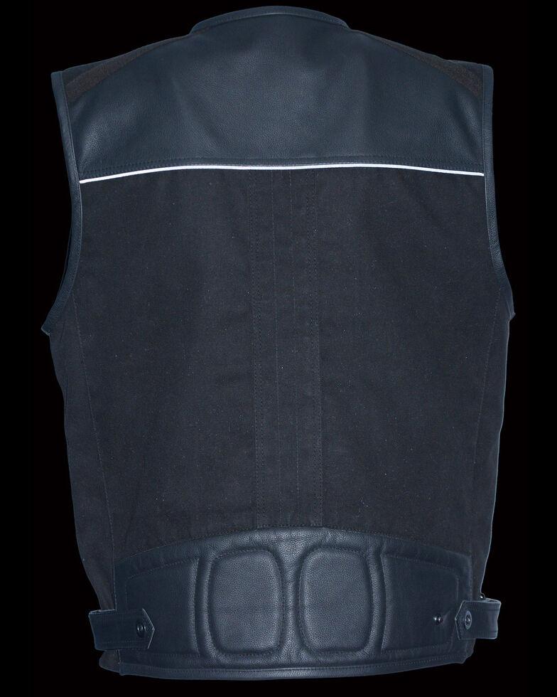 Milwaukee Leather Men's Leather & Canvas Zipper Front Super Utility Multi Pocket Vest - 4X, Black, hi-res