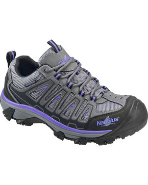 Nautilus Women's Grey and Purple Waterproof Low-Top Work Shoes - Steel Toe , Grey, hi-res
