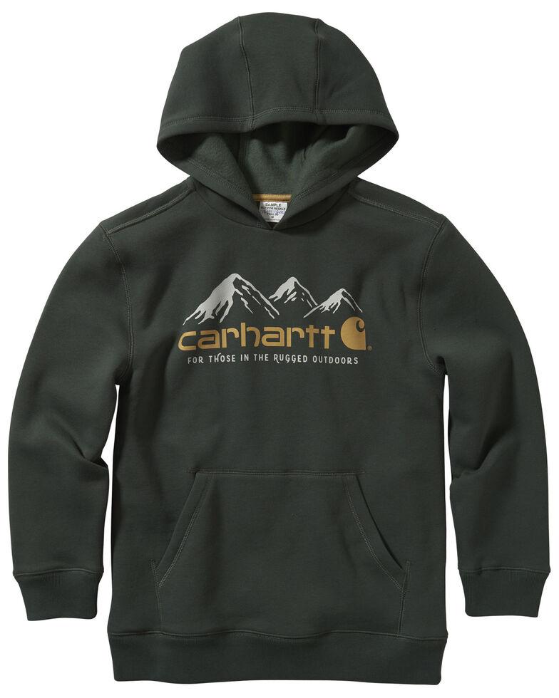 Carhartt Boys' Green Fleece Logo Graphic Hooded Sweatshirt , Green, hi-res