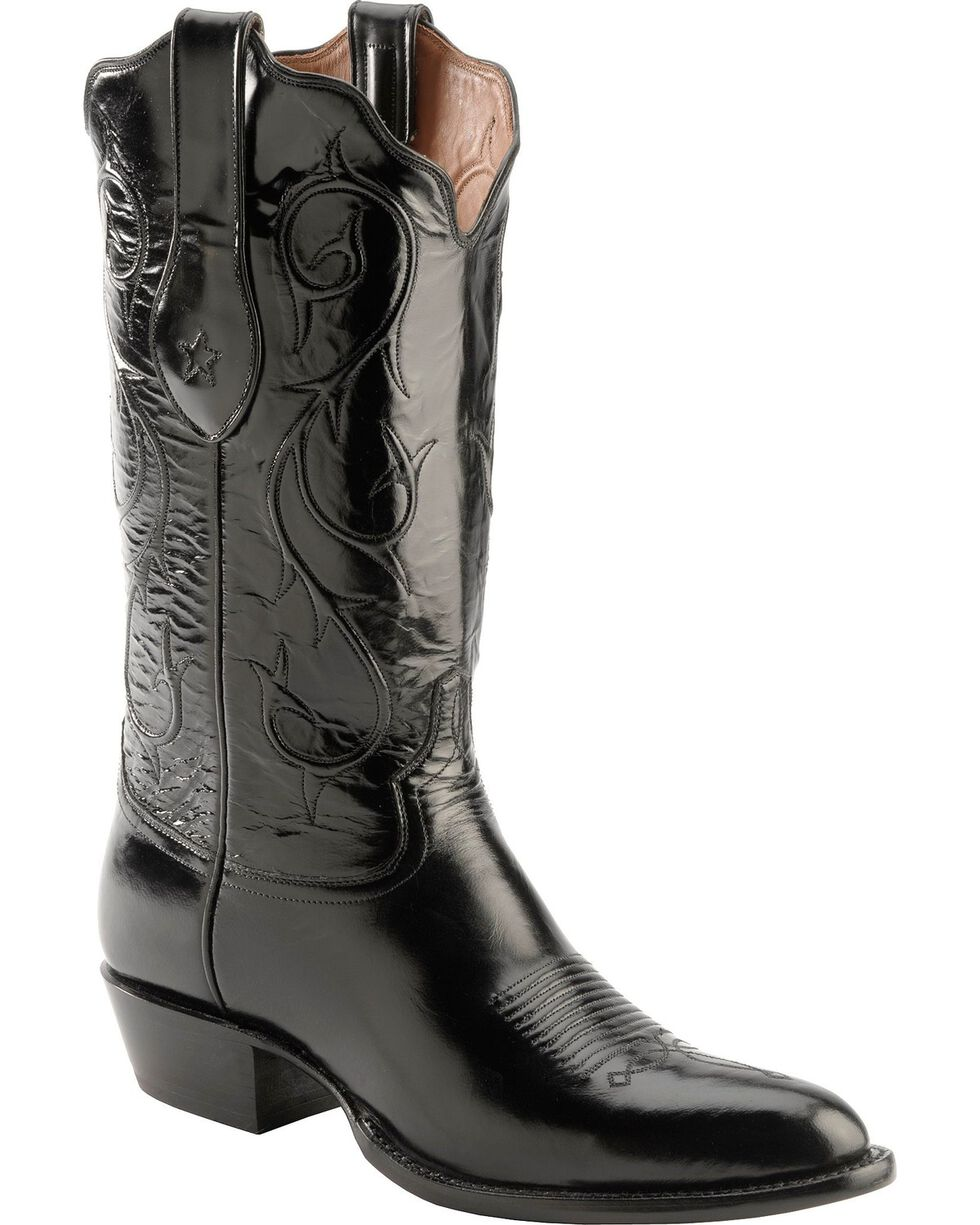 Tony Lama Signature Series Brushed Goat Cowboy Boots - Round Toe, Black, hi-res