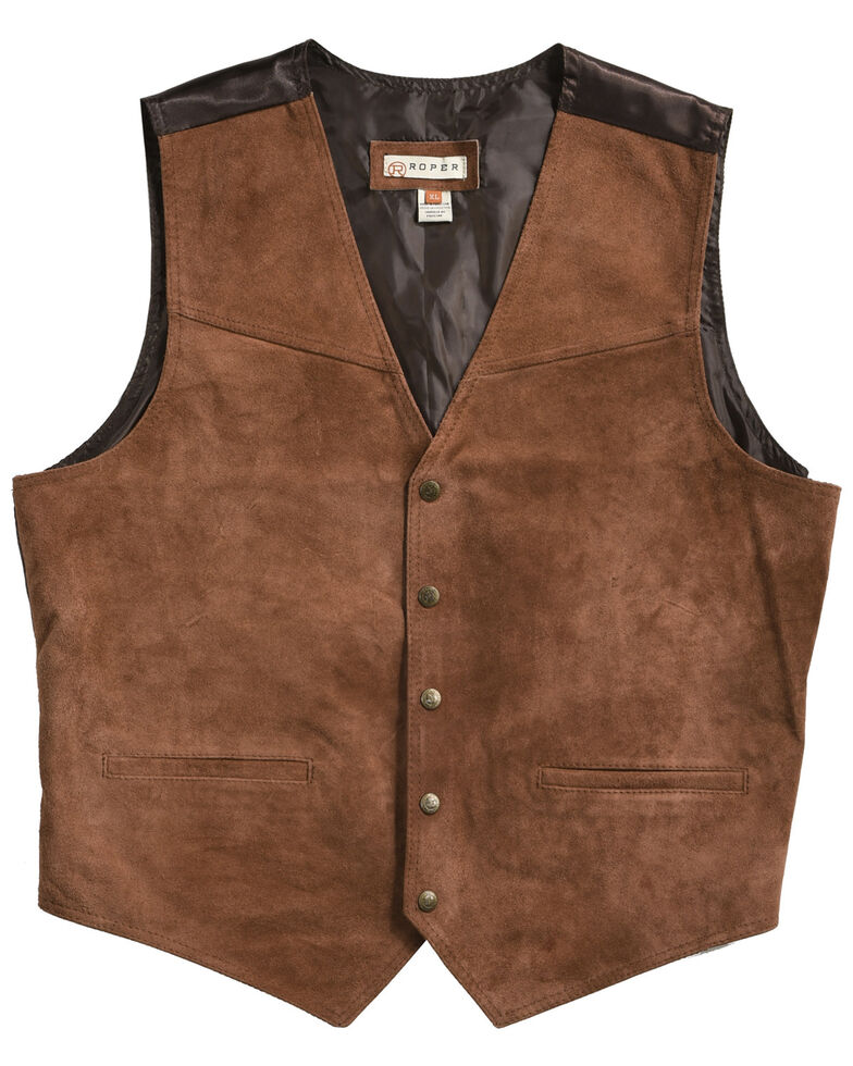 Roper Men's Suede Buckle Tie Vest, Brown, hi-res