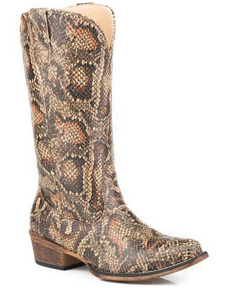 Roper Women's Riley Snake Print Western Boots - Snip Toe, Tan, hi-res