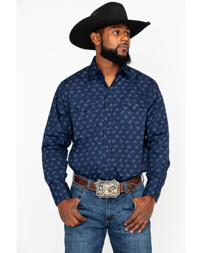 Ely Cattleman Men's Small Paisley Print Long Sleeve Western Shirt - Tall , Navy, hi-res