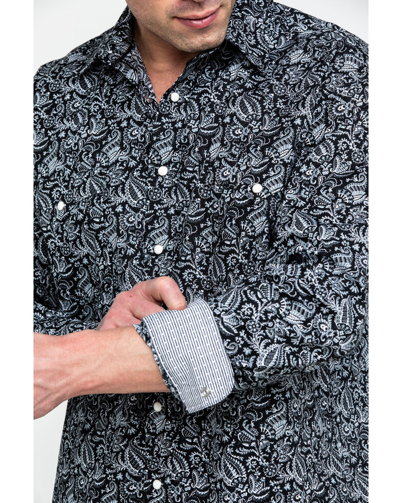 Rough Stock By Panhandle Men's Verano Paisley Print Long Sleeve Western Shirt , Black, hi-res