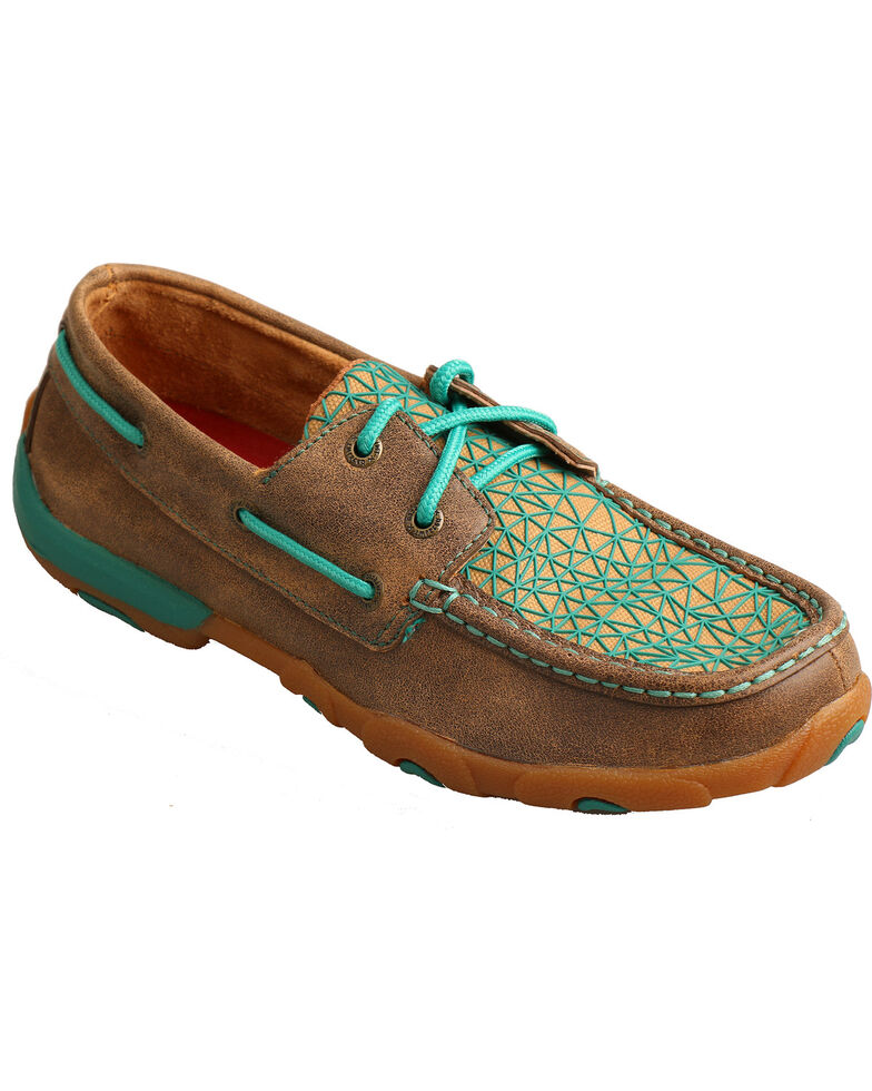 Twisted X Women's Bomber Brown Turquoise Driving Mocs - Moc Toe, , hi-res