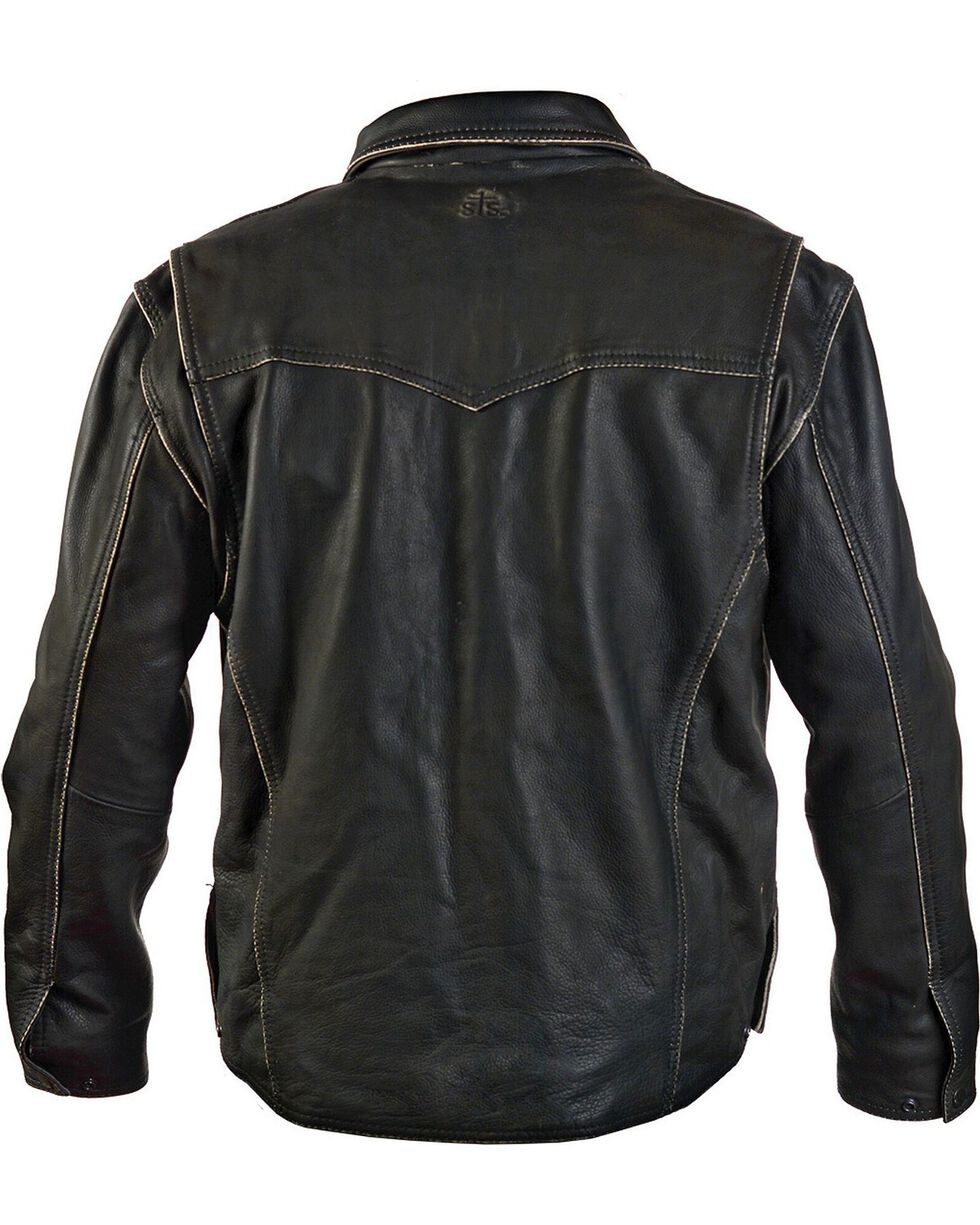 STS Ranchwear Men's Vegas Black Leather Jacket - Big & Tall - 2XL-3XL, Black, hi-res