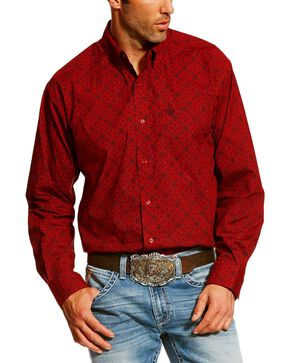Ariat Men's Camero Geo Print Long Sleeve Western Shirt - Big, Ruby, hi-res