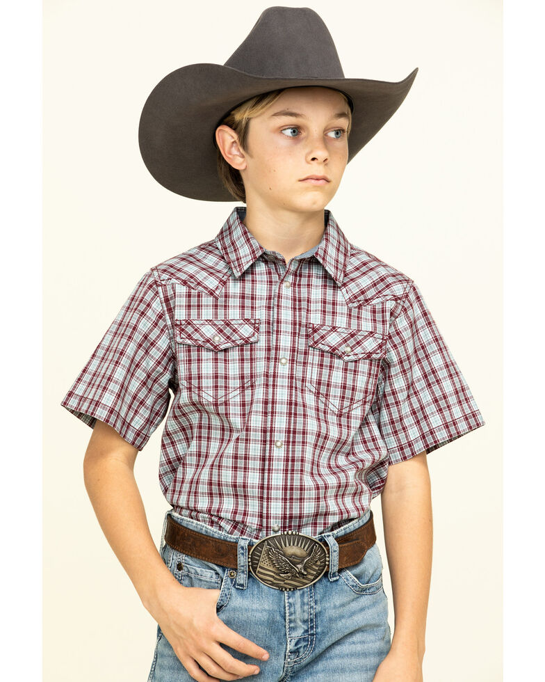 Cody James Boys' Static Small Plaid Short Sleeve Western Shirt , Olive, hi-res