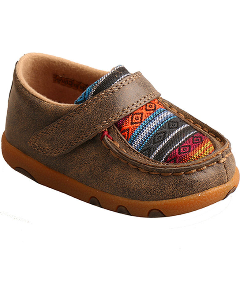 Twisted X Toddler Boys' Serape Canvas Driving Moc Shoes , Brown, hi-res