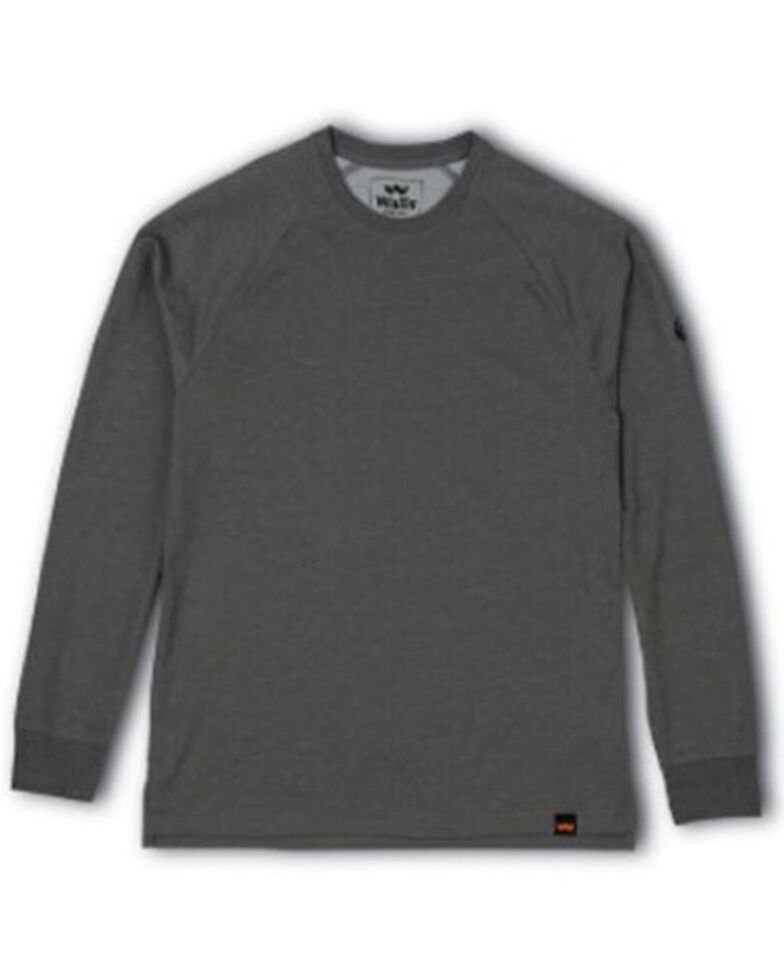 Walls Men's Solid Grey Sun Cross Cut Crew Long Sleeve Work T-Shirt , Heather Grey, hi-res