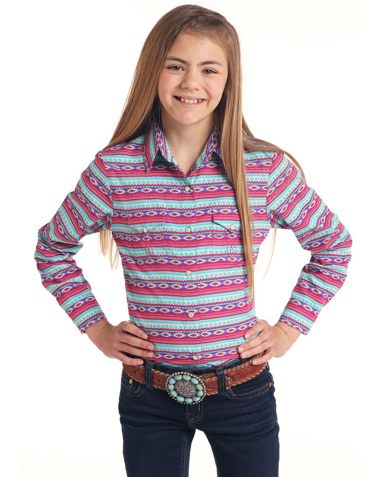 Panhandle Girls' Multi Aztec Print Long Sleeve Western Shirt , Multi, hi-res