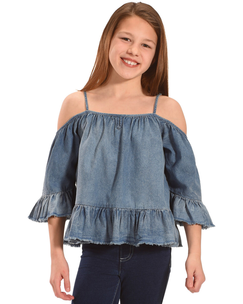 Silver Girls' Off-The-Shoulder Denim Top, Indigo, hi-res