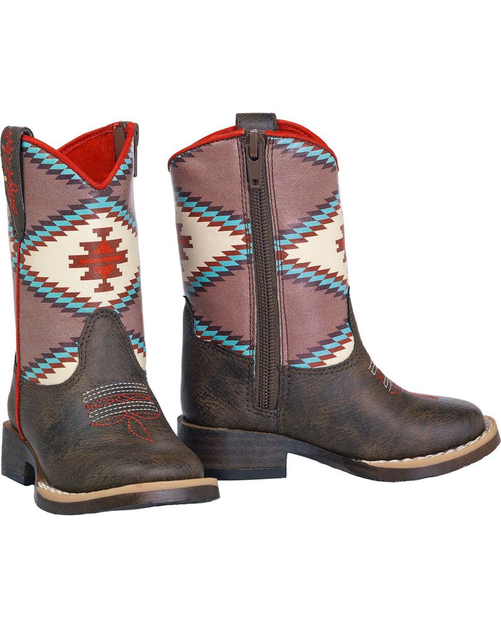 Blazin Roxx Toddler Girls' Brown Emily Southwest Cowboy Boots - Square Toe, Brown, hi-res