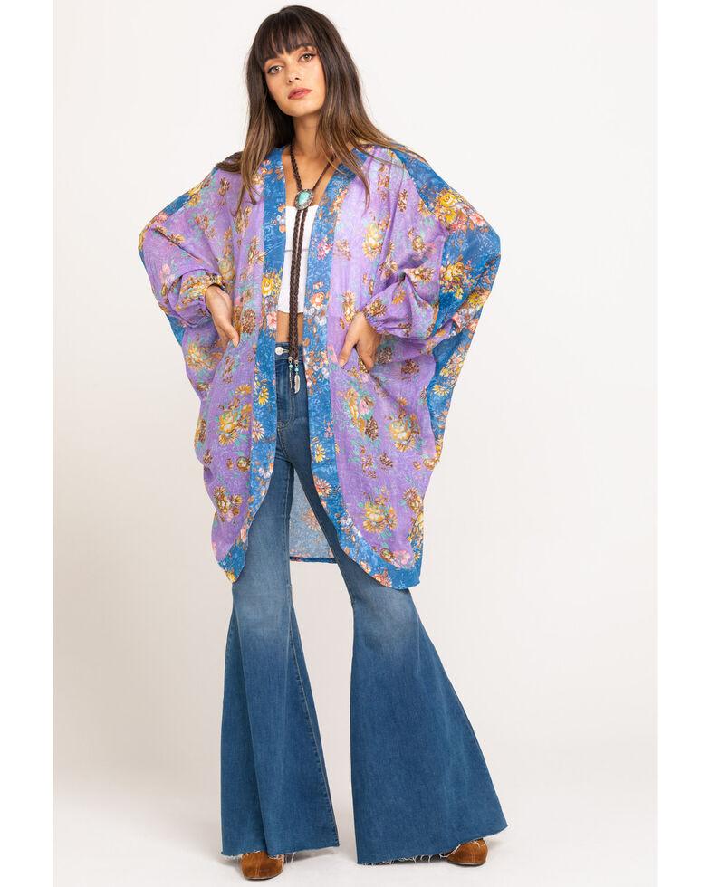 Aratta Women's Lilac Floral Duster, Blue, hi-res