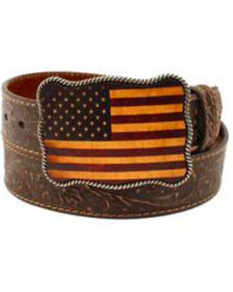 Nocona Men's American Flag Belt, Brown, hi-res