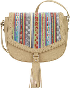 Bandana by American West Women's Boho Denim Flap Crossbody Bag, Sand, hi-res