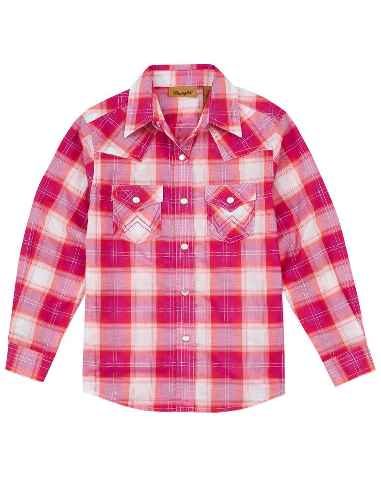 Wrangler Girls' Pink Plaid Long Sleeve Snap Western Shirt , Pink, hi-res