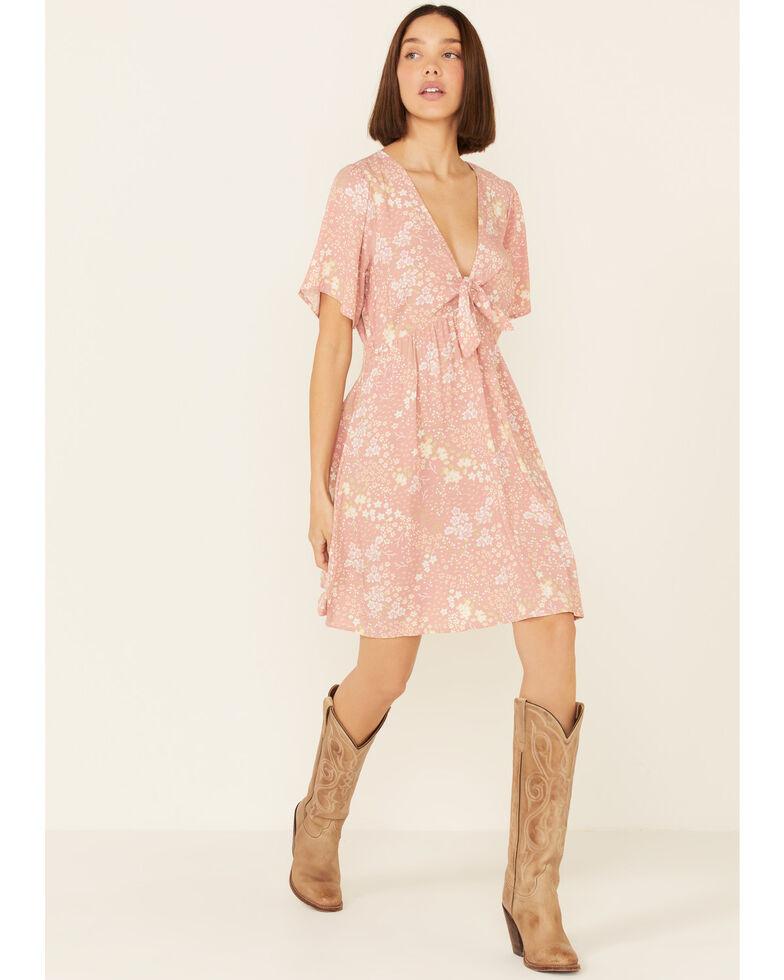 Beyond The Radar Women's Mauve Floral Tie-Front Dress, Mauve, hi-res