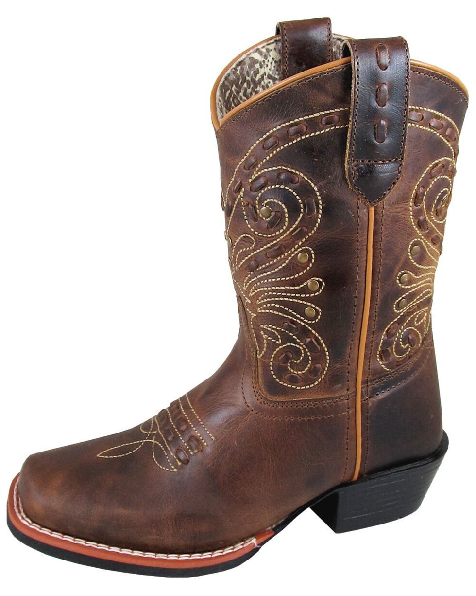Smoky Mountain Youth Girls' Shelby Embellished Western Boots - Square Toe, Brown, hi-res