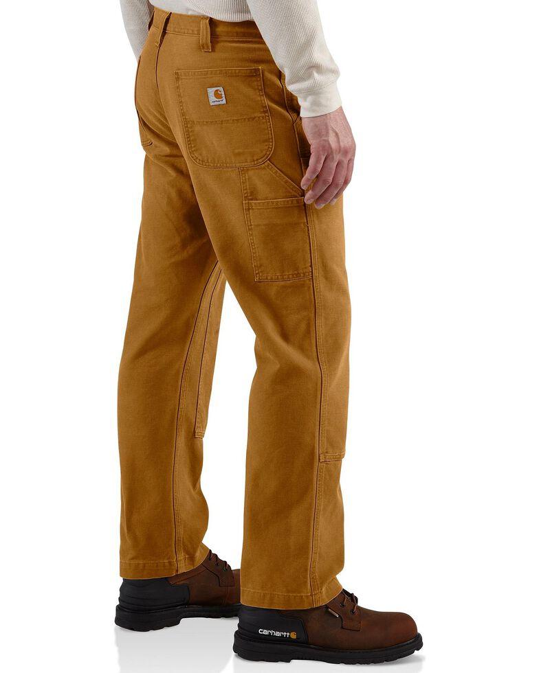 Carhartt Men's Weathered Double Front Dungaree Pants, Brown, hi-res