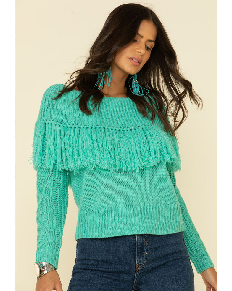 Rock & Roll Cowgirl Women's Turquoise Off Shoulder Cable Knit Fringe Sweater , Turquoise, hi-res