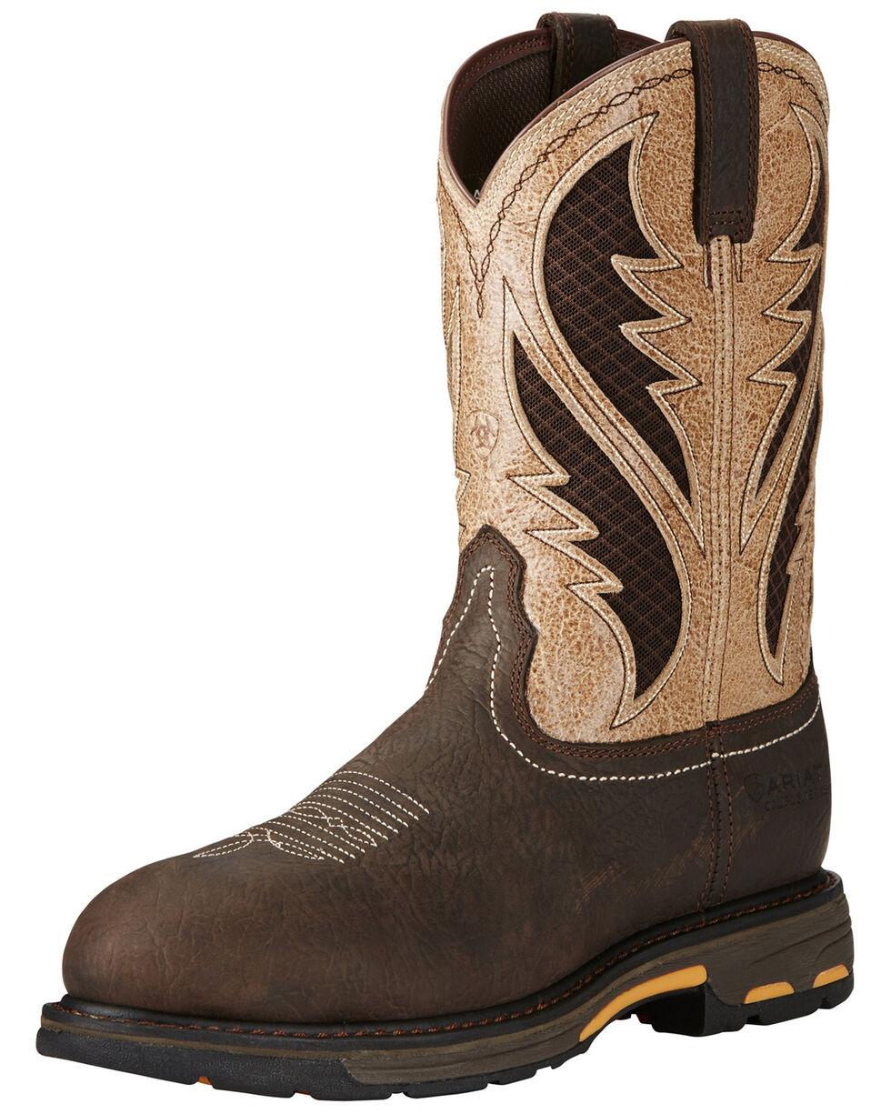 Ariat Men's VentTEK Workhog Comp Toe Work Boots, Brown, hi-res