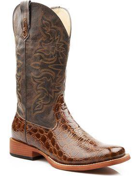 Roper Women's Gator Print Western Boots, Tan, hi-res
