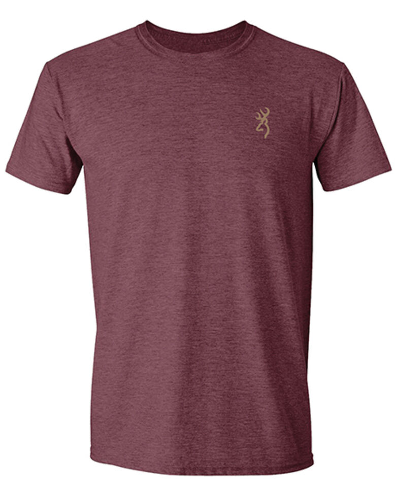 Browning Men's Heather Maroon Vintage Logo Back Graphic Short Sleeve T-Shirt , Maroon, hi-res