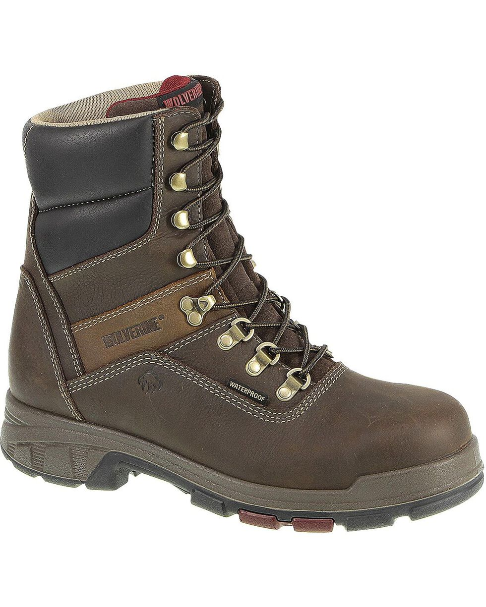 """Wolverine Men's Cabor 8"""" Comp Toe WPF Work Boots, Coffee, hi-res"""