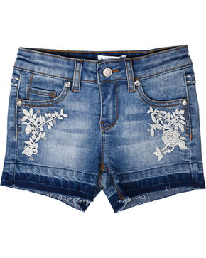 Shyanne® Girls' Floral Embroidered Cutoff Shorts, Blue, hi-res