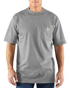 Carhartt Men's FR Solid Short Sleeve Work Shirt, Grey, hi-res