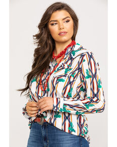 Wrangler Women's Cactus Checotah Print Snap Long Sleeve Western Shirt , Ivory, hi-res
