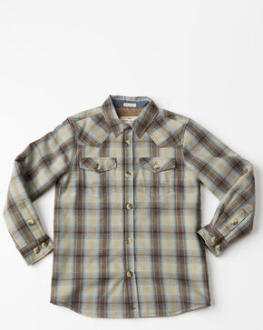 Cody James Boys' Plaid Long Sleeve Bonded Jacket, Brown, hi-res