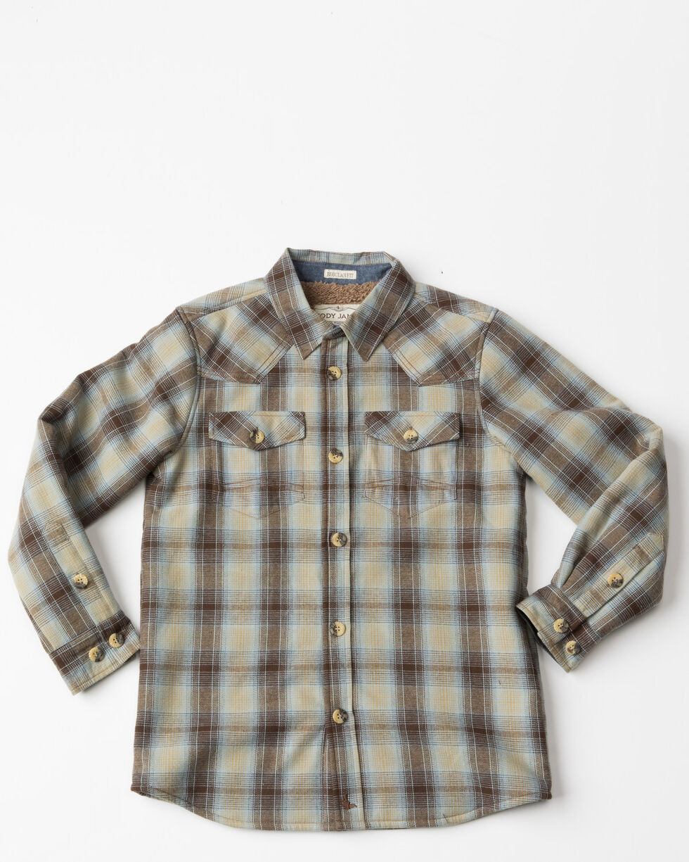 Cody James Boys' Flannel Sherpa Lined Shirt Jacket, Brown, hi-res