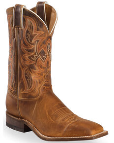 Justin Men's Bent Rail Square Toe Western Boots, Brown, hi-res