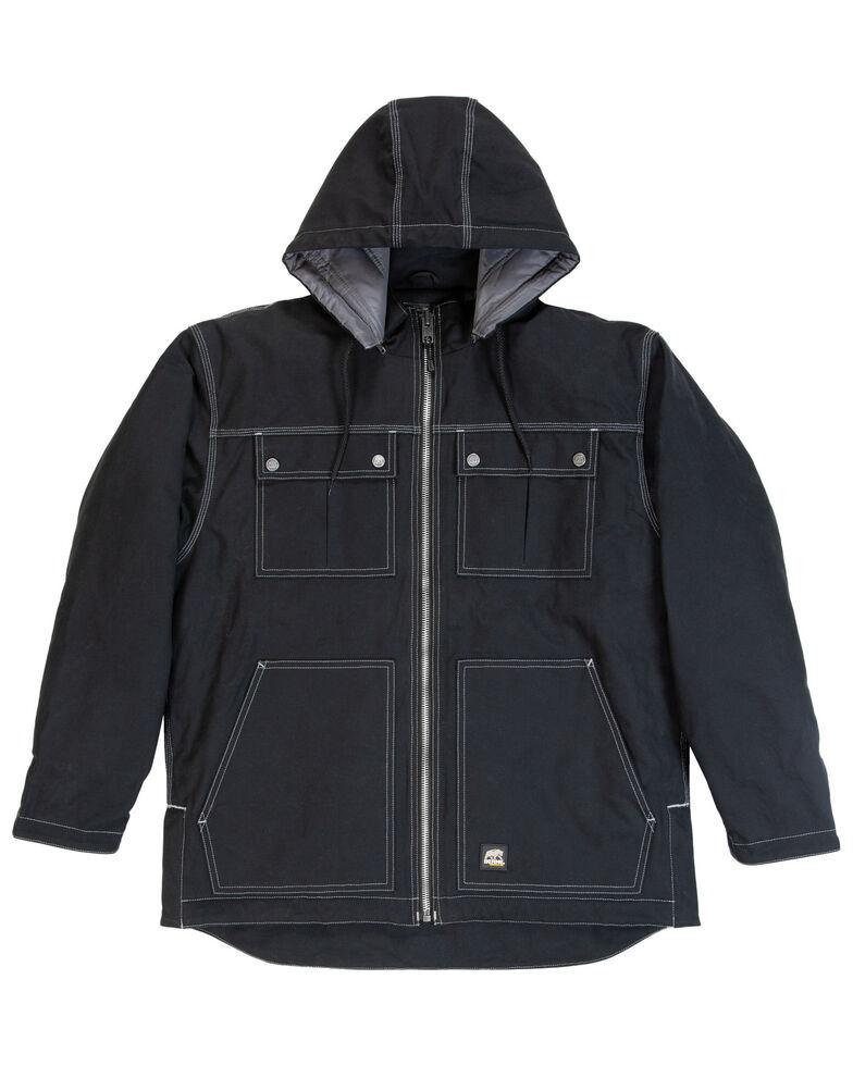 Berne Men's Modern Zip-Off Hooded Work Chore Coat - Tall , Black, hi-res