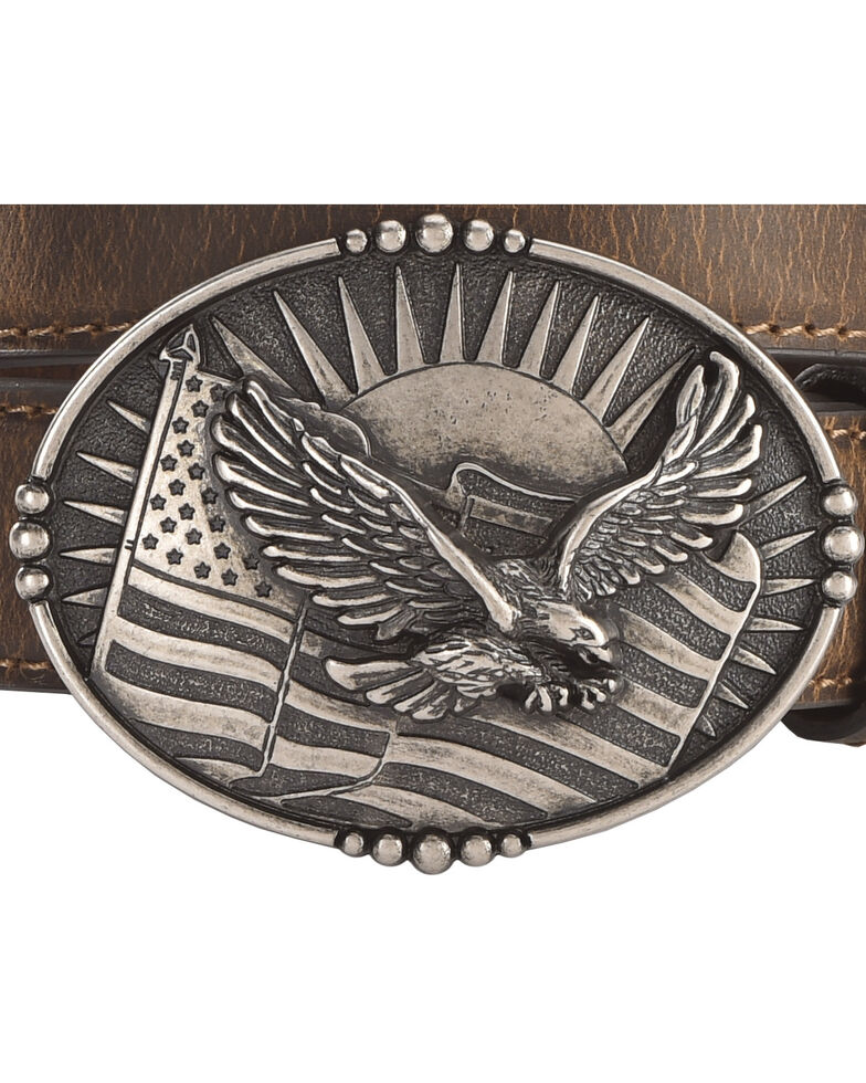 Cody James Boys' Eagle Flag Belt, Brown, hi-res