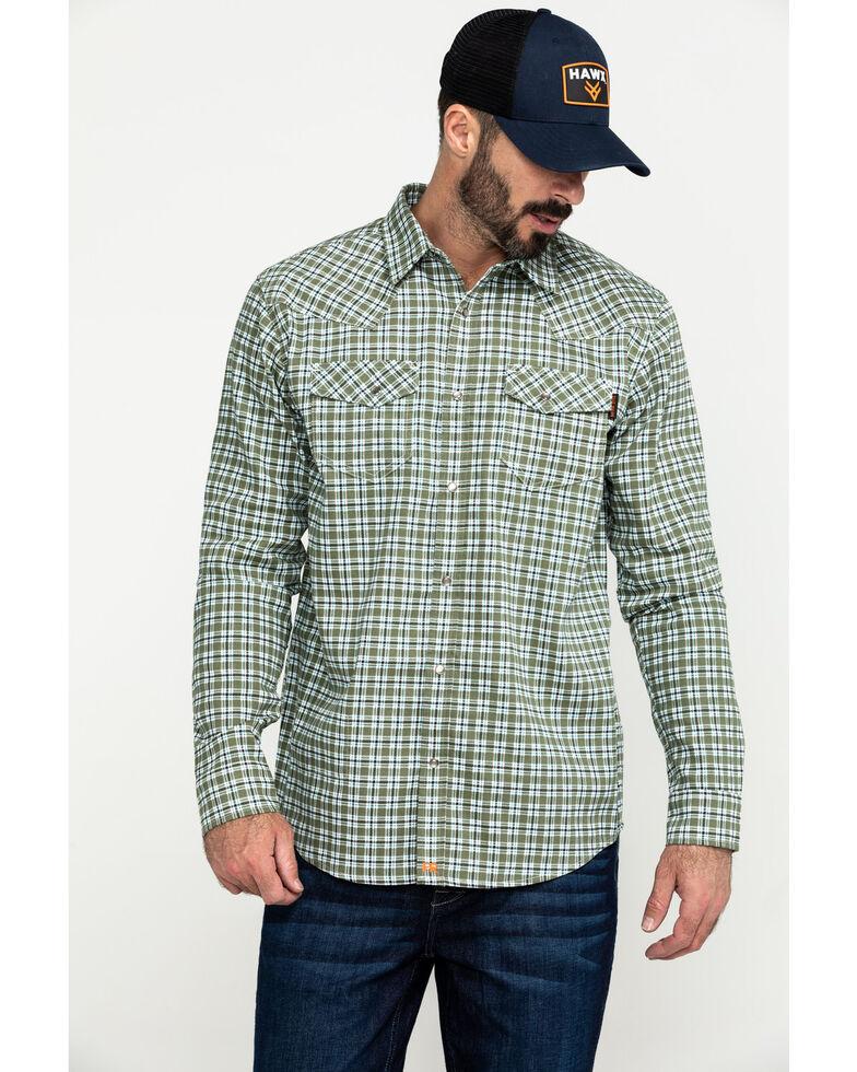 Cody James Men's FR Woven Plaid Long Sleeve Button-Down Work Shirt , Green, hi-res